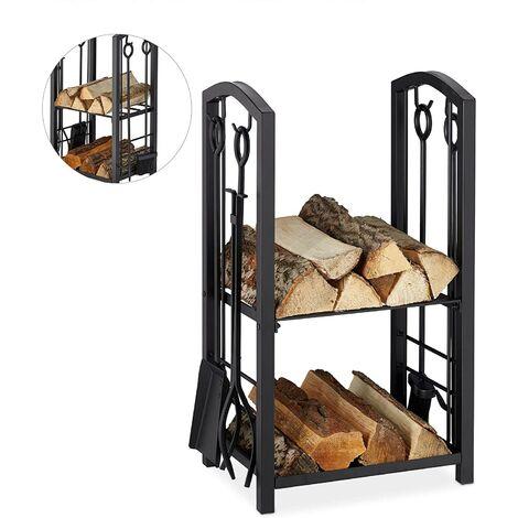 Étagère à bois avec couverts, 2 étagères, acier, couverts de cheminée 4 pièces, pelle, balai, pinces et crochets, Noir.