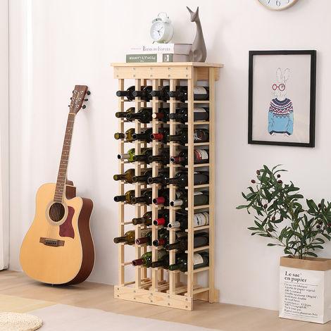 Etagère à bouteille de vin, casier à bouteille modulable bois 44 bouteilles