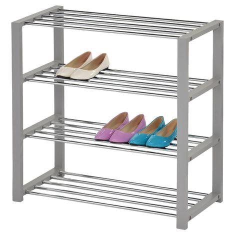 Etagère à chaussures ARINA 4 tablettes gris