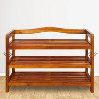 Étagère à chaussures en bois massif d'acacia Grande capacité de rangement Meuble armoire stockage 3 Niveaux
