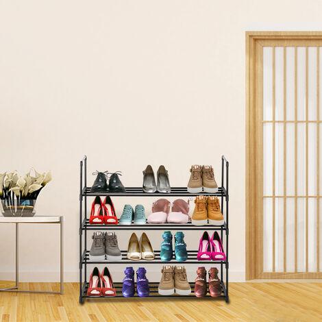 Étagère à chaussures en métal, 4 tubes en une couche, 4 couches, diamètre du tube 13 mm, tube de fer, noir