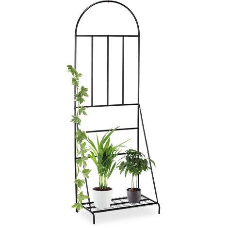 Etagère à fleurs avec treillis, jardin, balcon, terrasse, Acier, Support à plantes, 200 x 70 x 40 cm, noir
