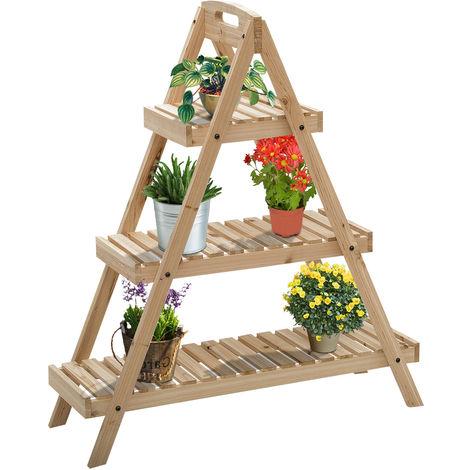 Étagère à fleurs pyramidale en bois - porte plante bois 3 étagères - dim. 86L x 28l x 100H cm - bois massif de sapin clair