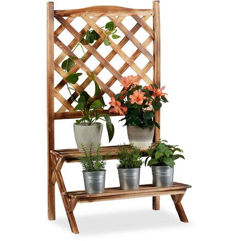 Etagère à fleurs Treillis bois escalier plantes échelle étagère plantes Grille 2 marches, brûlé