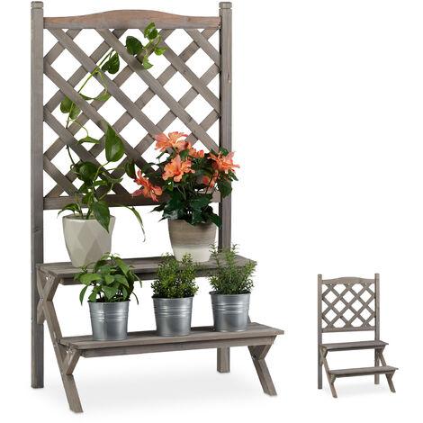 Etagère à fleurs Treillis bois escalier plantes échelle étagère plantes Grille HxlxP: 109x61x40 cm, gris