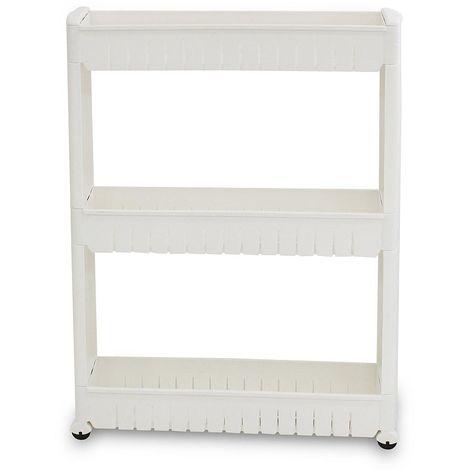 Étagère à Roues, Meuble de Rangement avec Roues, 3 compartiments, 78 x 54 x 12 cm, Blanc, Matériau: PP