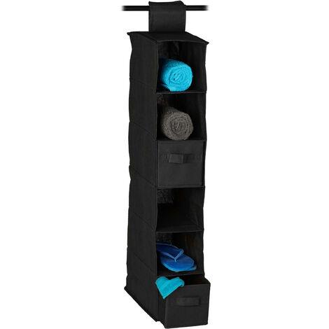 Etagère à suspendre en tissu, 6 compartiments, 2 tiroirs, pour dressing, HLP: env. 82 x 14,5 x 30 cm, couleurs