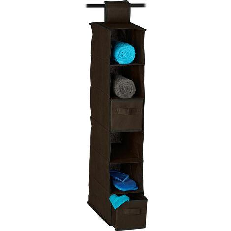 Etagère à suspendre en tissu, 6 compartiments, 2 tiroirs, pour dressing, HLP: env. 82 x 14,5 x 30 cm, marron