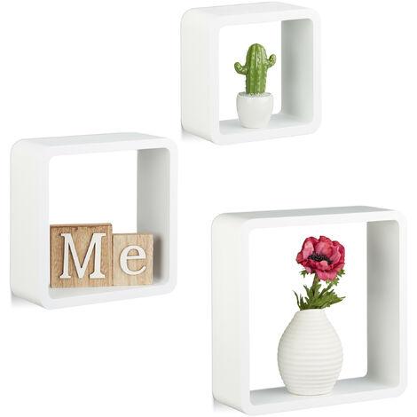 Étagère à suspendre lot de 3 cubes support mural meuble rangement bois MDF carré, blanc