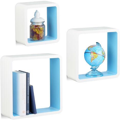 Étagère à suspendre lot de 3 cubes support mural meuble rangement bois MDF carré, blanc bleu