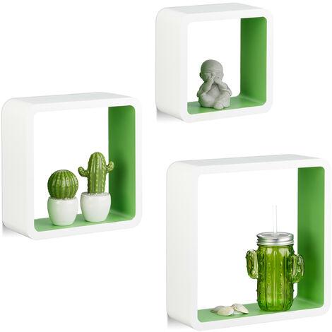 Étagère à suspendre lot de 3 cubes support mural meuble rangement bois MDF carré, blanc-vert