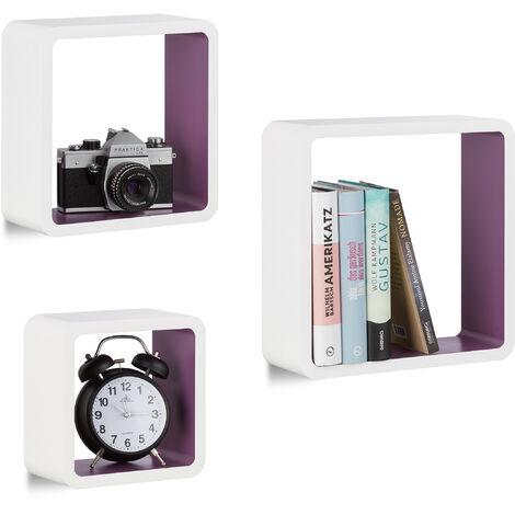 Étagère à suspendre lot de 3 cubes support mural meuble rangement bois MDF carré, blanc-violet