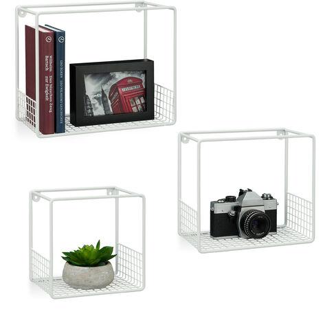 Étagère à suspendre lot de 3 cubes, support mural, meuble rangement, grille grillage, 15 cm, métal, blanc
