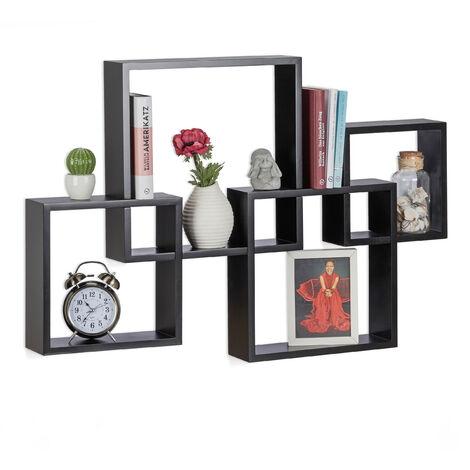 Étagère à suspendre lot de 4 cubes support mural meuble rangement bois MDF carré HxlxP: 92 x 62,5 x 10cm, noir