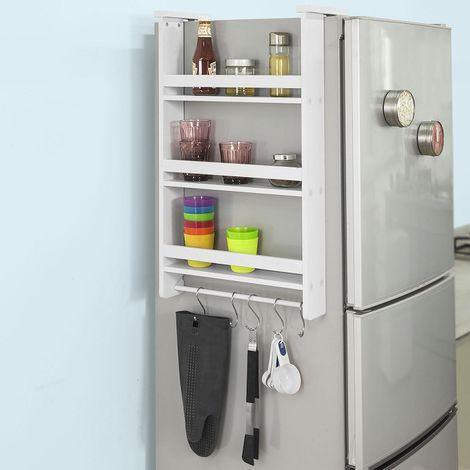 """main image of """"Étagère à suspendre pour réfrigérateur avec ventouses Étagère à épices en bois - 3 étagères et 5 crochets - Blanc FRG150-W SoBuy®"""""""