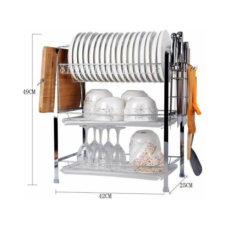 Etagere A Vaisselle 3 Tier Egouttoir A Couverts En Acier Inoxydable Panier A Vaisselle Rangement Cuisine Ou U66i Mjj