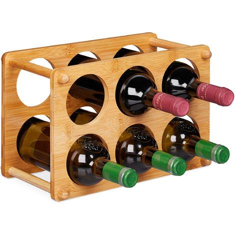 Etagère à vin, 6 bouteilles, Support à vin pour la cuisine, cave, salon, rangement à vin 21x32x18,5 cm, Nature