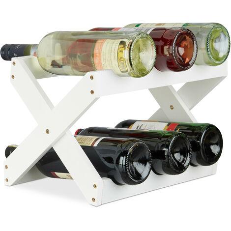 Étagère à Vin Bambou, Forme en X, 6 bouteilles, petit, Range-bouteilles pliant, HLP 22x36x20 cm, blanc