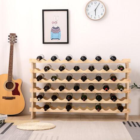 Étagère à Vin Casier à 72 Bouteilles en Bois de Pin Robuste Modulable 119 x 29 x 71,5 CM