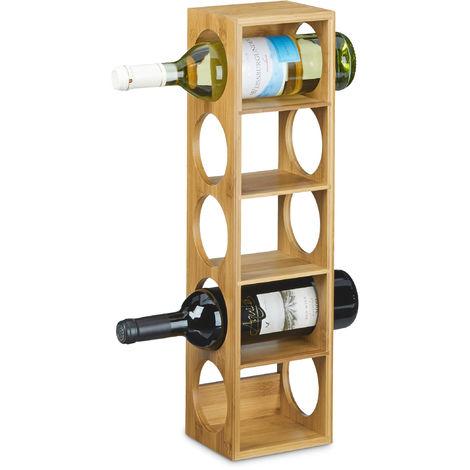 Étagère à vin en bambou HxlxP: 53 x 14 x 12 cm 5 emplacements range-bouteilles 5 étages casier à vin en bois porte-bouteilles 5 niveaux horizontal, nature