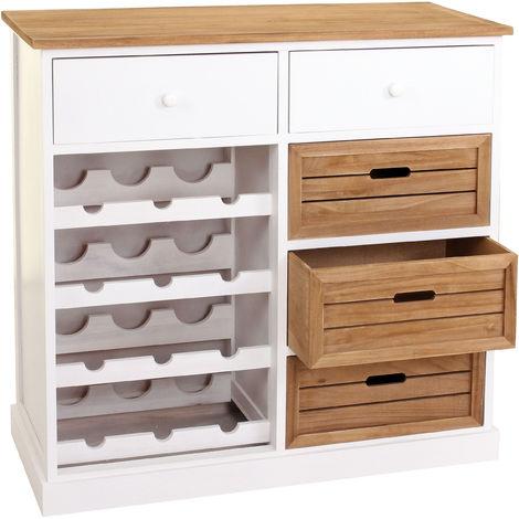 Étagère à vin HHG-307, commode / meuble pour 12 bouteilles avec tiroirs, style campagne 86x87x37cm