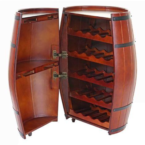 Étagère à vin HHG-7287, tonneau avec porte 85x52x52cm, 23 bouteilles