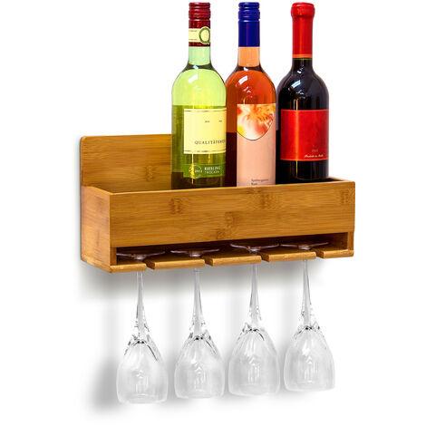 Étagère à vin Porte-verres fixation murale Porte-bouteilles Support cuisine Déco bambou H x l x P: 17 x 37 x 11,5 cm 4 bouteilles & 4 verres, couleur naturelle