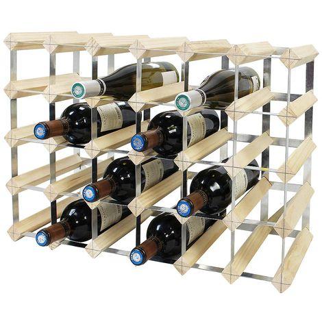 Etagère à Vin , Range-bouteilles, 30 bottles, 61,2 x 42 x 22,8 cm, Bois naturel, Dimensions: 61,2 x 42 x 22,8 cm