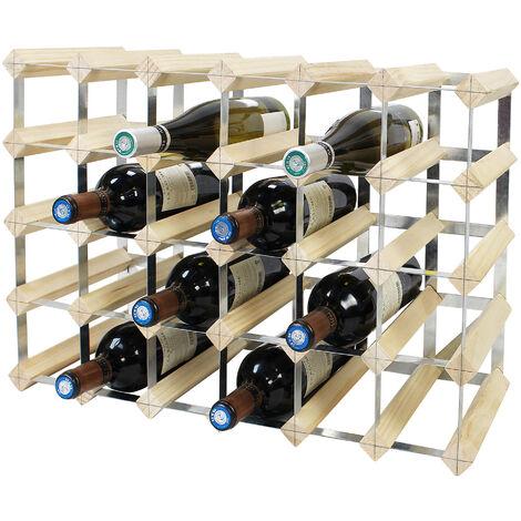 Etagère à Vin , Range-bouteilles, 30 bottles, 61,2 x 42 x 22,8 cm, Bois naturel, Dimensions: 61,2 x 42 x 22,8 cm - Bois naturel