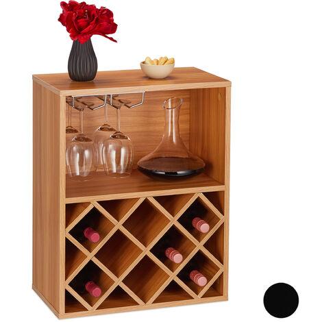 Étagère à vin, Rangement 8 bouteilles, support à verre de vin, grand support à vin, 63 x 50 x 28 cm, marron