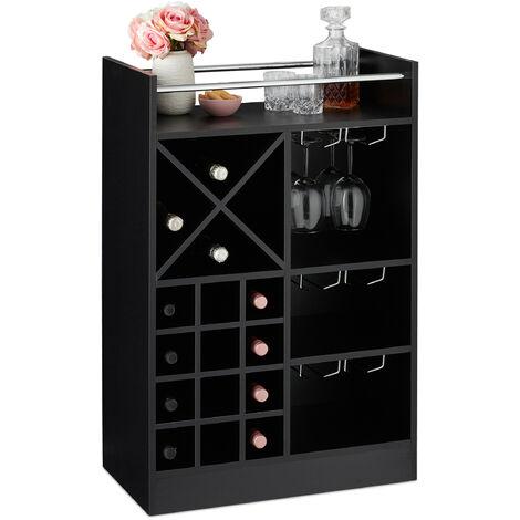 Étagère à vin, Rangement pour 8 bouteilles, support à verre de vin, support à vin, 63 x 50 x 28 cm, noir