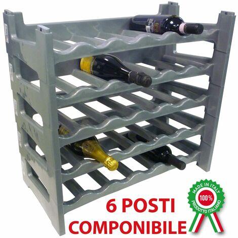 Etagère à vins Porte-bouteilles 6 places modulaire et empilable en plastique - Couleur