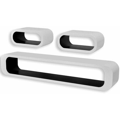 Étagère armoire meuble design 3 cubes suspendues mdf stockage dvd blanc noir rectangulaire - Blanc
