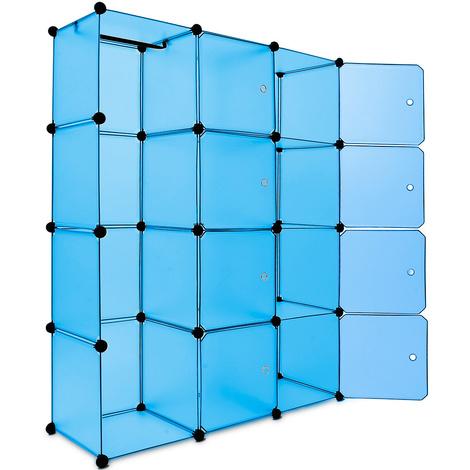 Étagère armoire plastique bleu transparent 12 casiers 600L Penderie Rangement