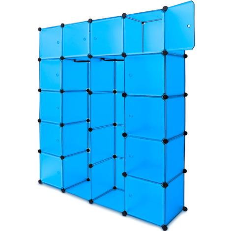 Étagère armoire plastique bleu transparent - 20 casiers - Penderie Rangement
