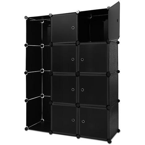 Étagère armoire plastique noir transparent 12 casiers 600L Penderie Rangement