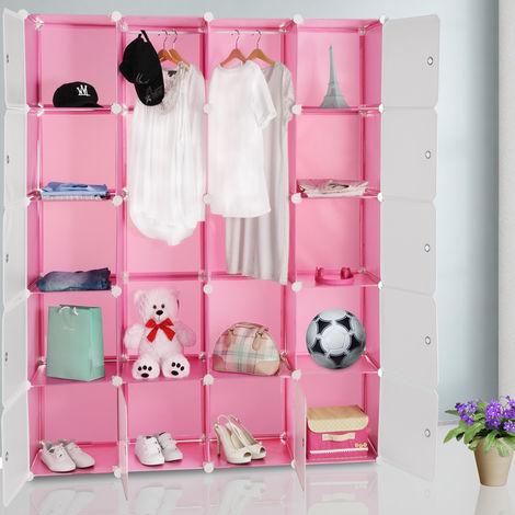 Étagère armoire plastique rose transparent 20 casiers 1000L Penderie Rangement