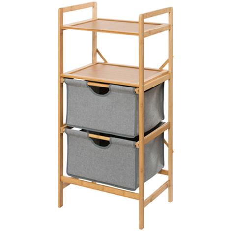 Étagère avec 2 tiroirs en bambou - Dim : 44 x 96 x 34 cm -PEGANE-