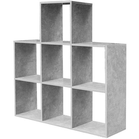 Etagere Bibliotheque Forme Cube En Gris Avec 7 Compartiments Meuble Mural Livres Design Rangement