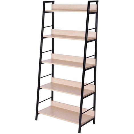 """main image of """"Étagère bibliothèque style industriel incliné 5 niveaux 70L x 35l x 150H cm coloris chêne clair noir"""""""