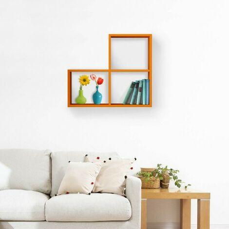 etagere Bounce - Murale Flottante, pour Livres - avec Sticker - pour Sejour, Chambre - en Bois, 62 x 20 x 70 cm