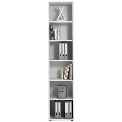 Étagère bureau avec 6 compartiments blanc brillant - P40 x Lg47,5 x H221,5 cm -PEGANE-
