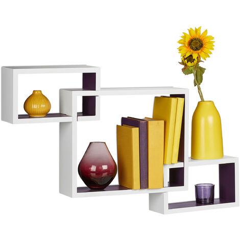 Étagère carré flottante à suspendre lot de 3 cubes assemblés support mural rangement bois MDF HxlxP: 48 x 70,5 x 10 cm, plusieurs couleurs