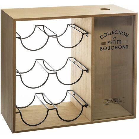 Etagère casier à bouteille Vintage Loft - L. 40 x H. 35 cm - Marron bois - Beige