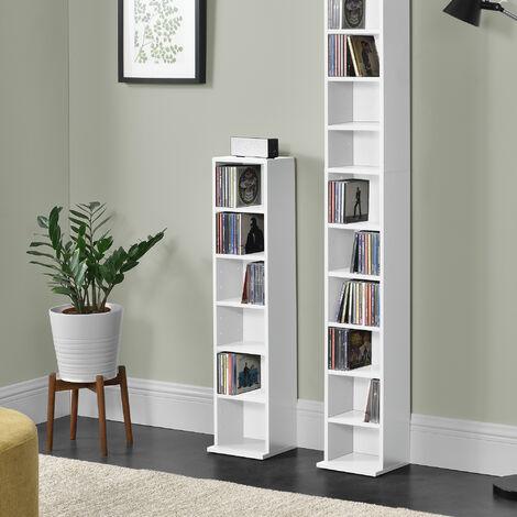 Etagere Cd Tour Cd Dvd Rangement Stockage 6 Surfaces De Stockage 90 X 20 X 20 Cm Mdf Melamine Blanc 57657912