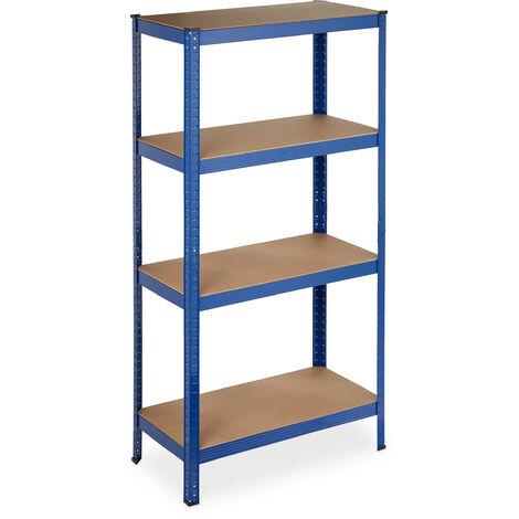 Etagère charge lourde, 4 niveaux HlP 157 x 80 x 41 cm, 280 kg, capacité maximale, pour garage, cave, bleue