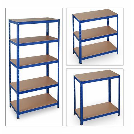 Étagère charge lourde meuble de rangement à clip cave charge garage 180 cm acier bleu - Bleu