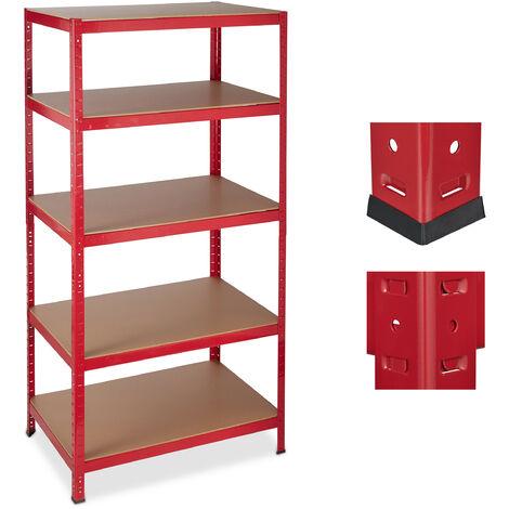 Étagère charge lourde, Meuble rangement à clip, Cave charge 1325 kg, garage, 180x90x60 cm, métal, MDF, rouge