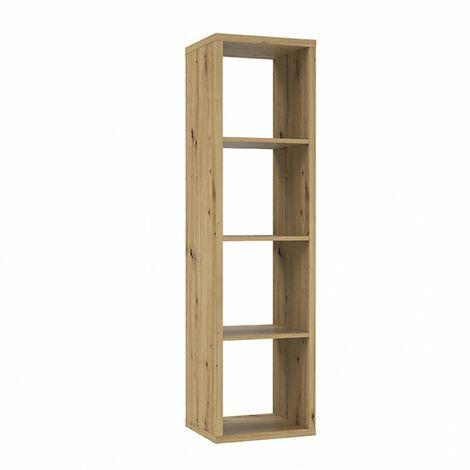 Etagère colonne 4 casiers décor bois rustique texturé - CLASSICO - Bois