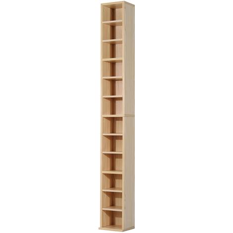 Étagère colonne armoire de rangement CD 12 compartiments 21L x 20l x 175H cm capacité max. 204 CD coloris hêtre